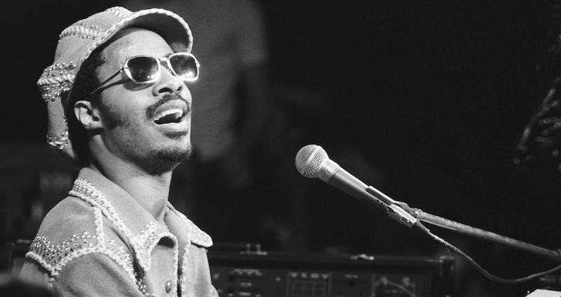 Stevie Wonder press photo performing