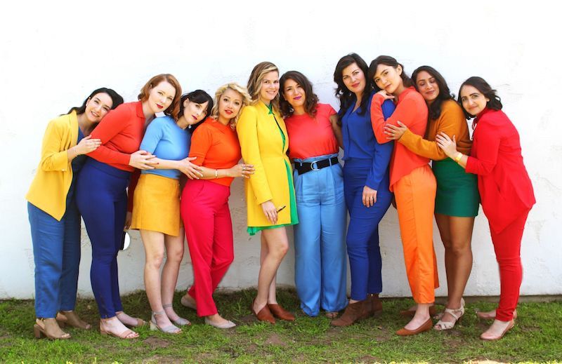 The Silver Lake Chorus press photo with colorful clothing