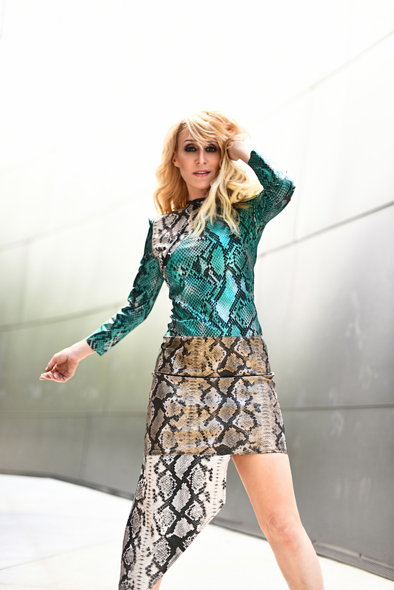 JES press photo + Fakeskin dress