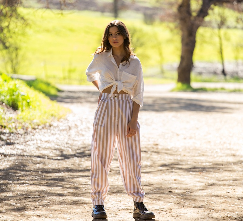 Lafamos + Tash + Standing + Striped Pants + Press Shot