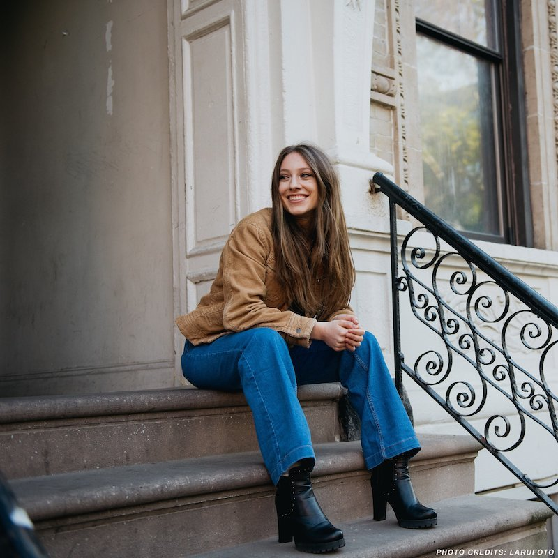 Gina Brooklyn press photo on stoop