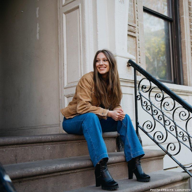 Gina Brooklyn press photo on stoop