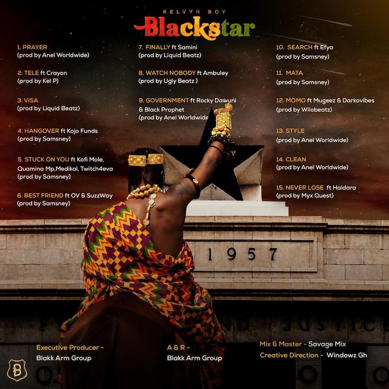 """Kelvyn Boy – """"Blackstar"""" album back cover"""