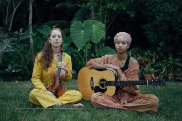 WILLOW & Jahnavi Harrison press photo with musical instruments - press photo by Rasa Partin