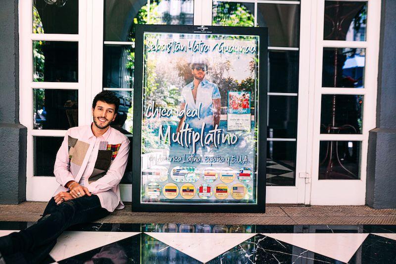 Sebastián Yatra with multi-platinum plague for Chica Ideal single