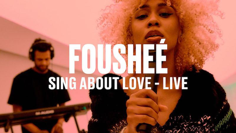 "Fousheé's ""sing about love"" thumbnail via Vevo DSCVER."