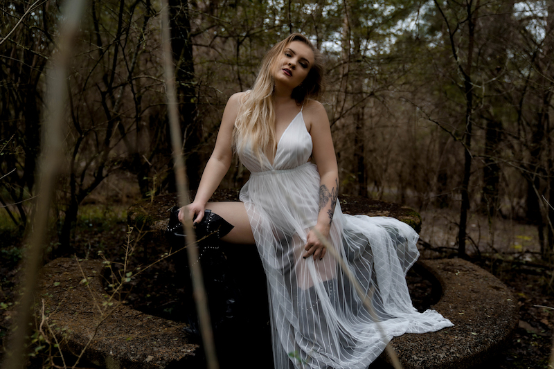 "Kerrigan Barry - ""Honest with God"" press photo in the woods"