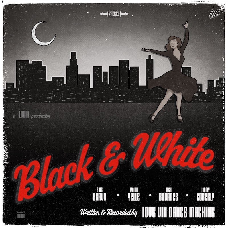 "Love Via Dance Machine's ""Black & White"" song cover art."