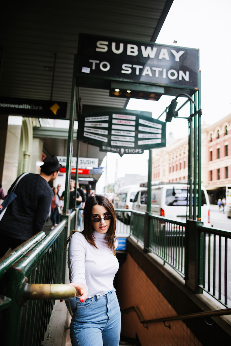 Tassia Zappia - Press Image outside coming out of a subway station